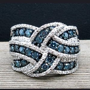 Sterling Silver sapphire ring - size 6